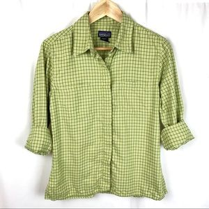 Patagonia organic cotton button down green shirt